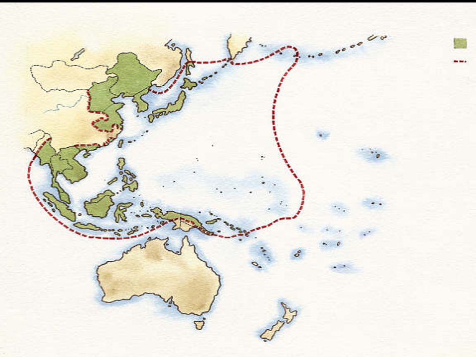 Image that illustrates the extent of the Japanese Empire by 1942.