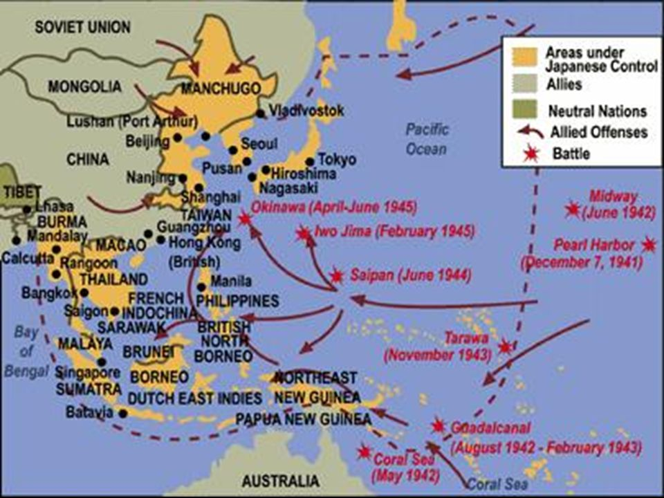 Geographical Image of battles in the Pacific