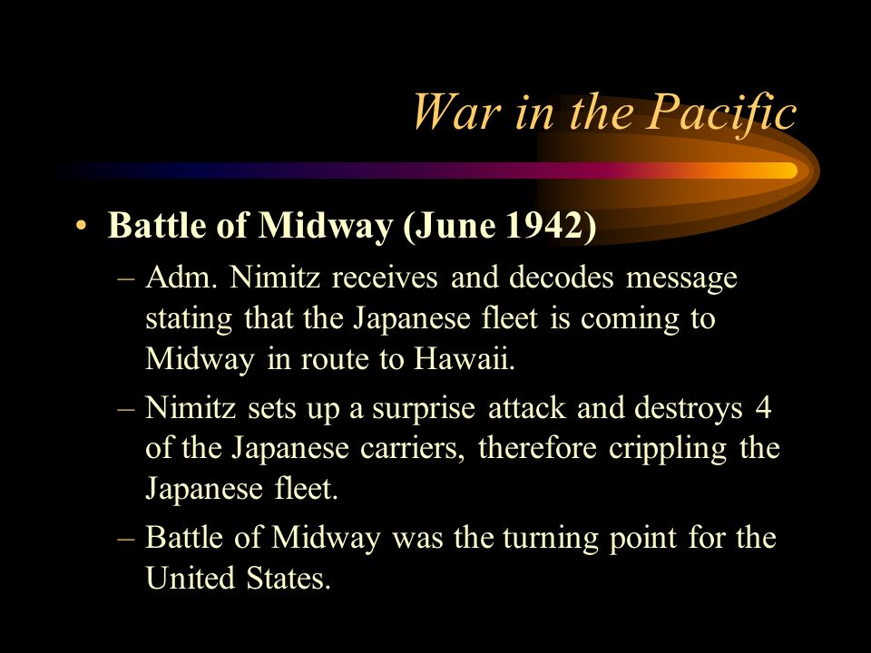 War in the Pacific Battle of Midway (June 1942)