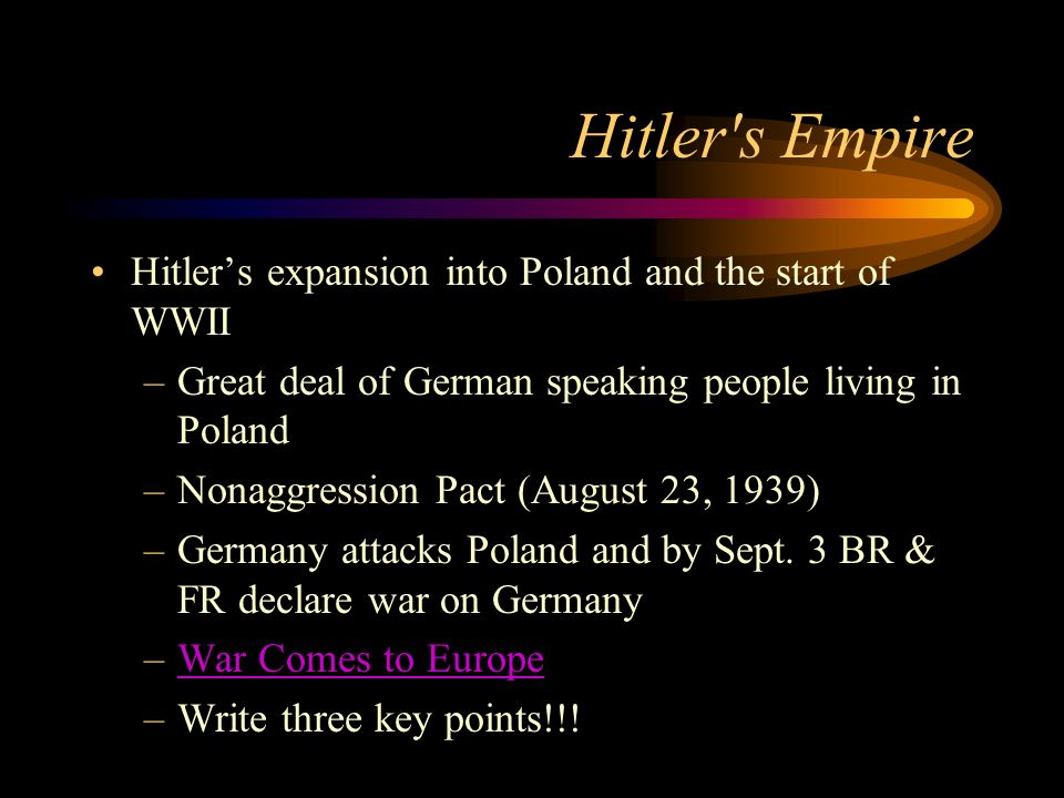 Hitler s Empire Hitler's expansion into Poland and the start of WWII