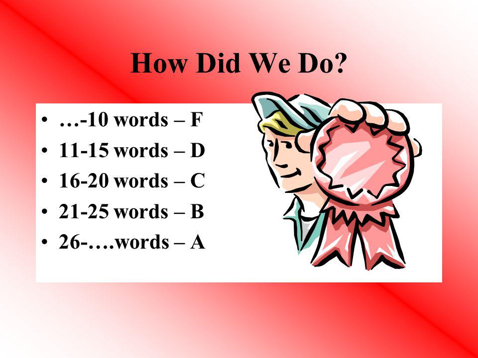 How Did We Do …-10 words – F 11-15 words – D 16-20 words – C