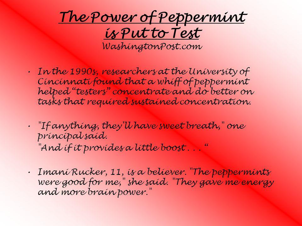 The Power of Peppermint is Put to Test WashingtonPost.com