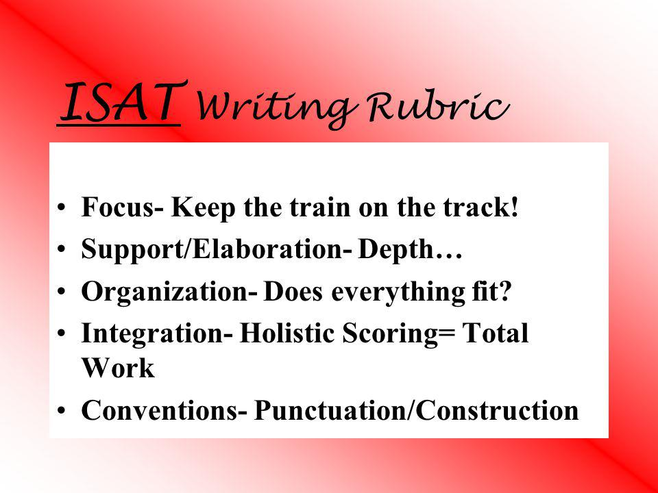 ISAT Writing Rubric Focus- Keep the train on the track!