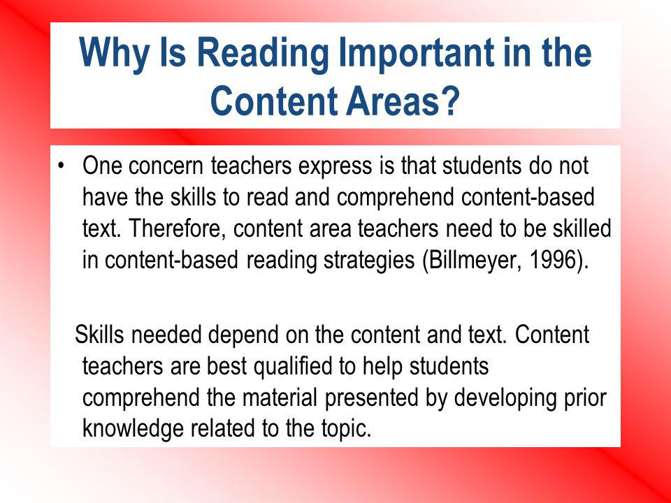 Why Is Reading Important in the Content Areas