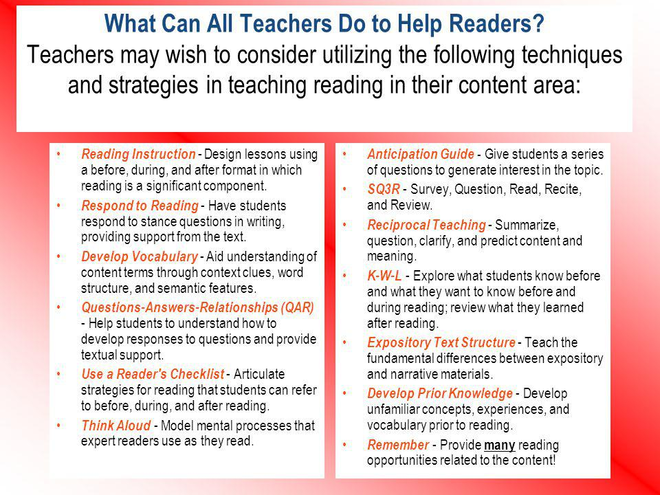 What Can All Teachers Do to Help Readers