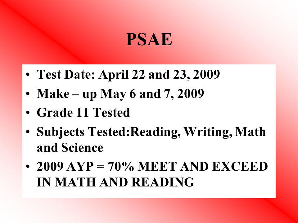 PSAE Test Date: April 22 and 23, 2009 Make – up May 6 and 7, 2009