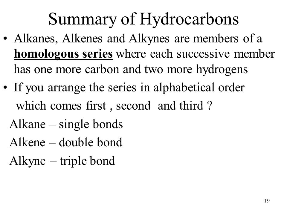Summary of Hydrocarbons