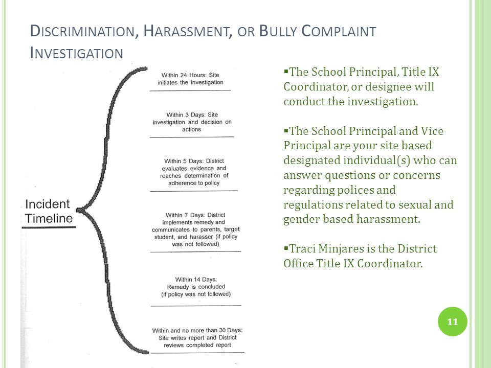 Discrimination, Harassment, or Bully Complaint Investigation