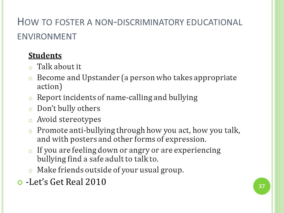 How to foster a non-discriminatory educational environment