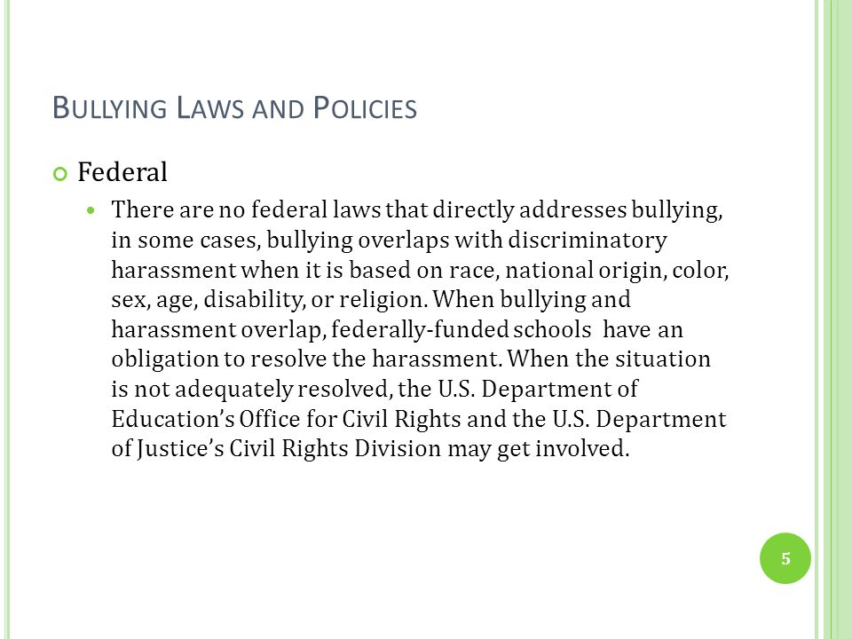 Bullying Laws and Policies