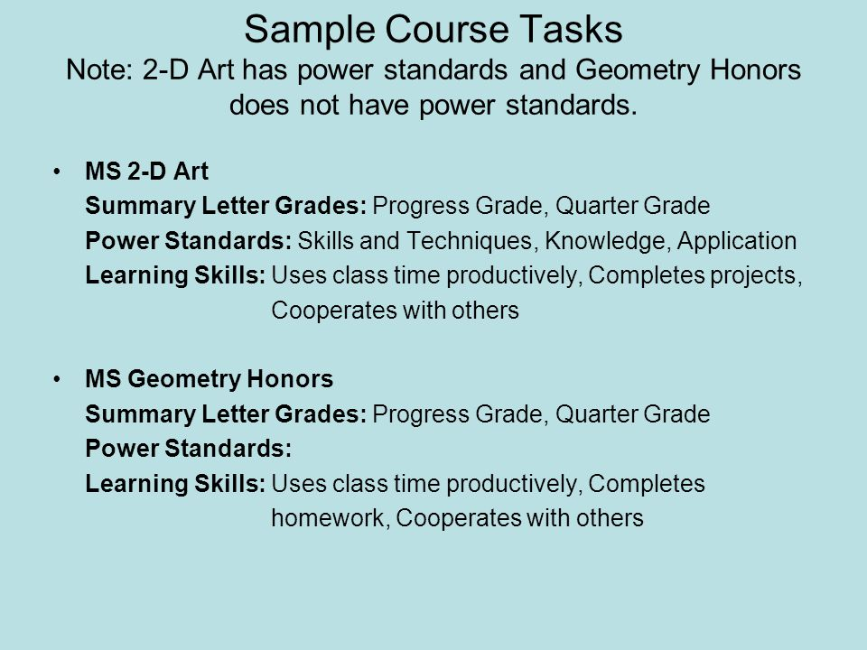 Sample Course Tasks Note: 2-D Art has power standards and Geometry Honors does not have power standards.