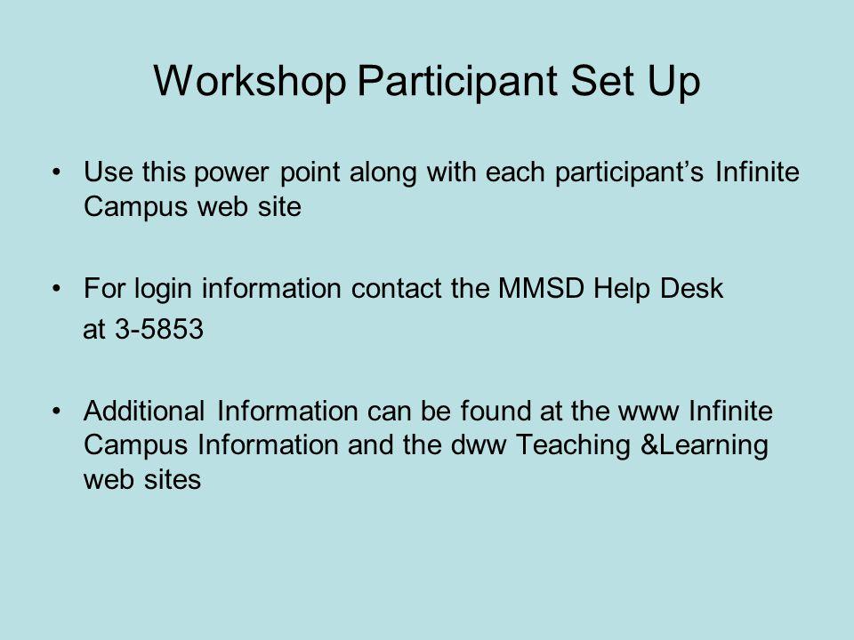 Workshop Participant Set Up