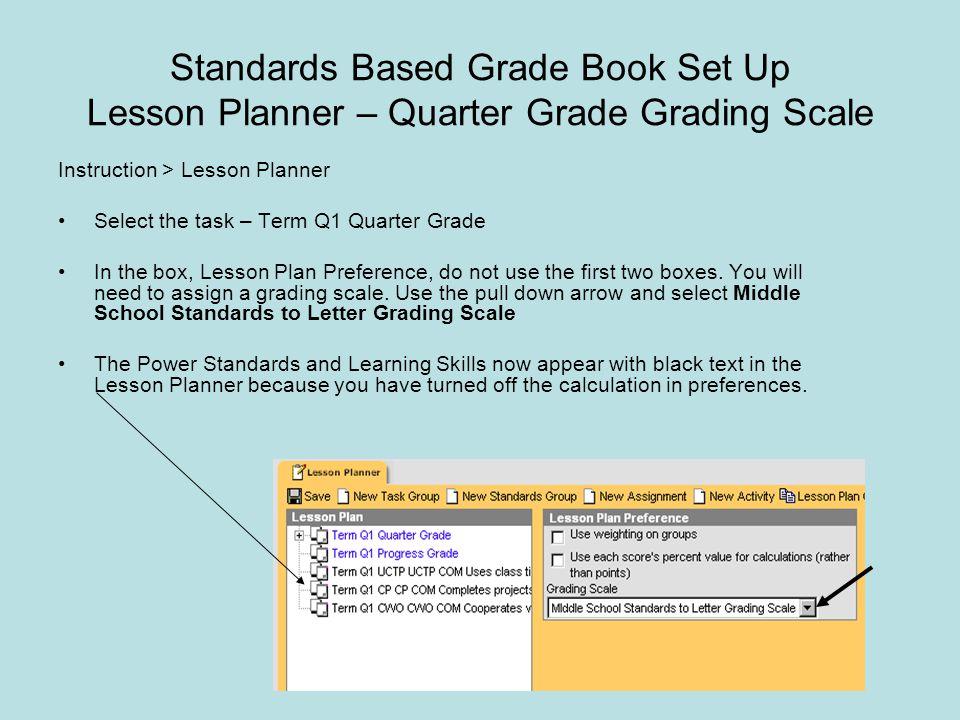 Standards Based Grade Book Set Up Lesson Planner – Quarter Grade Grading Scale