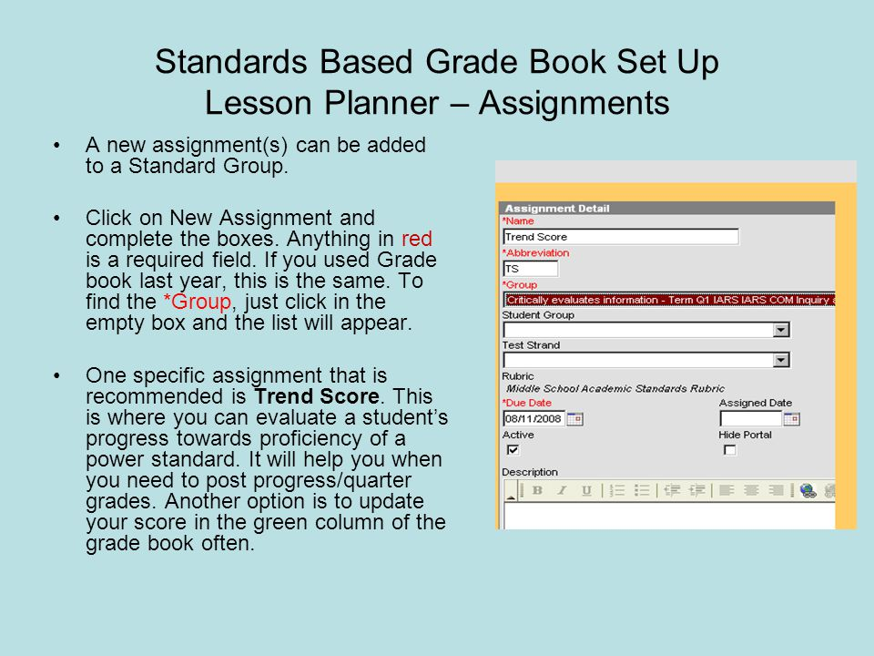 Standards Based Grade Book Set Up Lesson Planner – Assignments