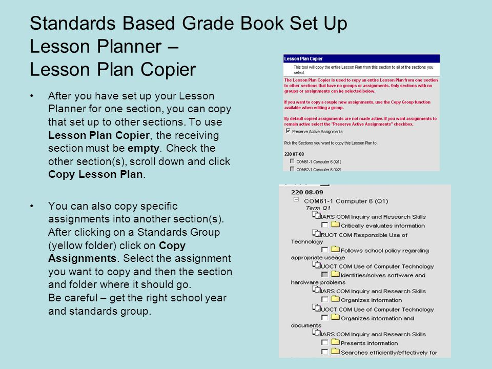 Standards Based Grade Book Set Up Lesson Planner – Lesson Plan Copier