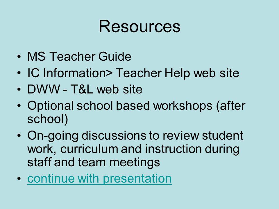 Resources MS Teacher Guide IC Information> Teacher Help web site