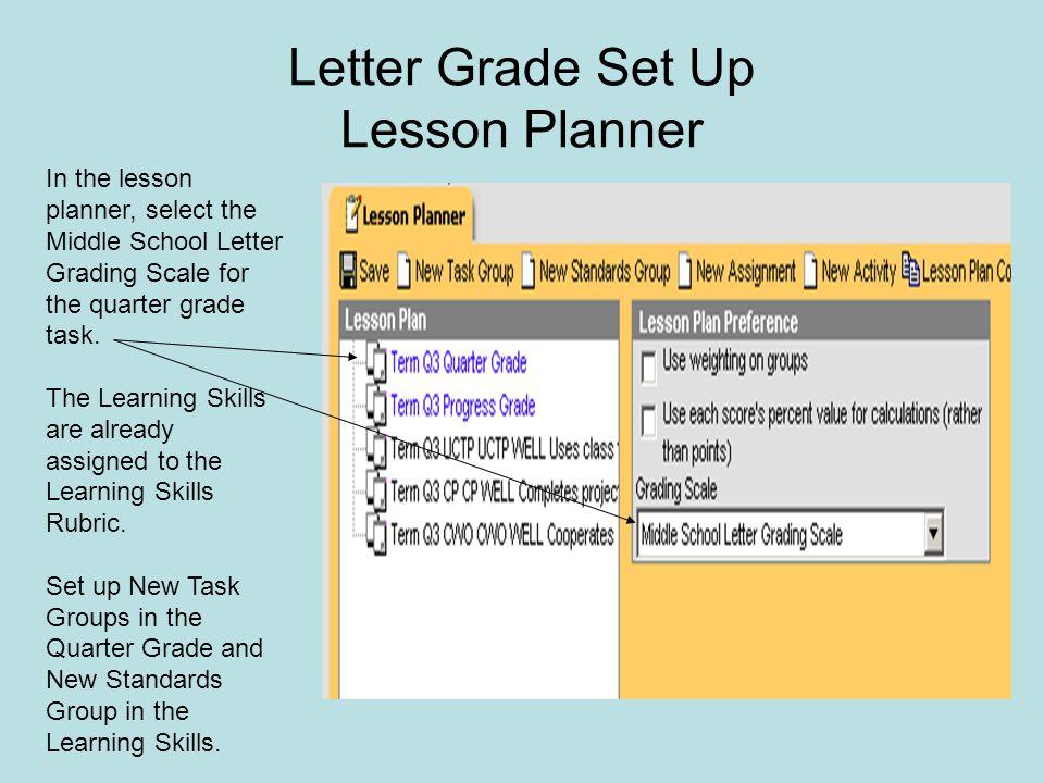 Letter Grade Set Up Lesson Planner