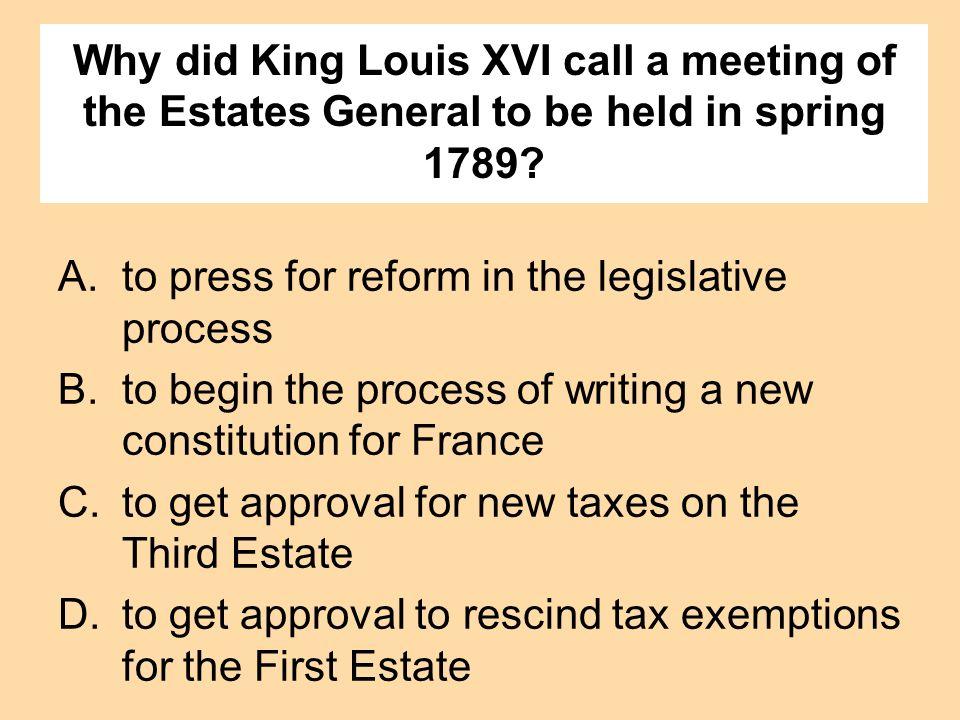 to press for reform in the legislative process