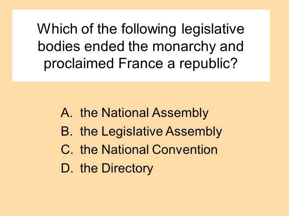Which of the following legislative bodies ended the monarchy and proclaimed France a republic