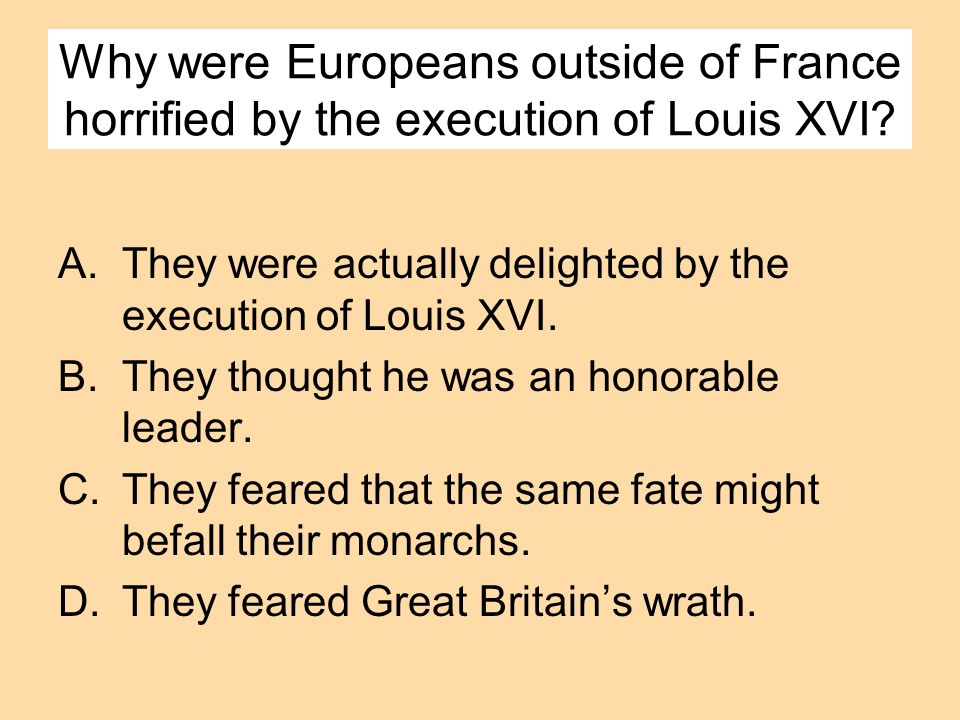 Why were Europeans outside of France horrified by the execution of Louis XVI