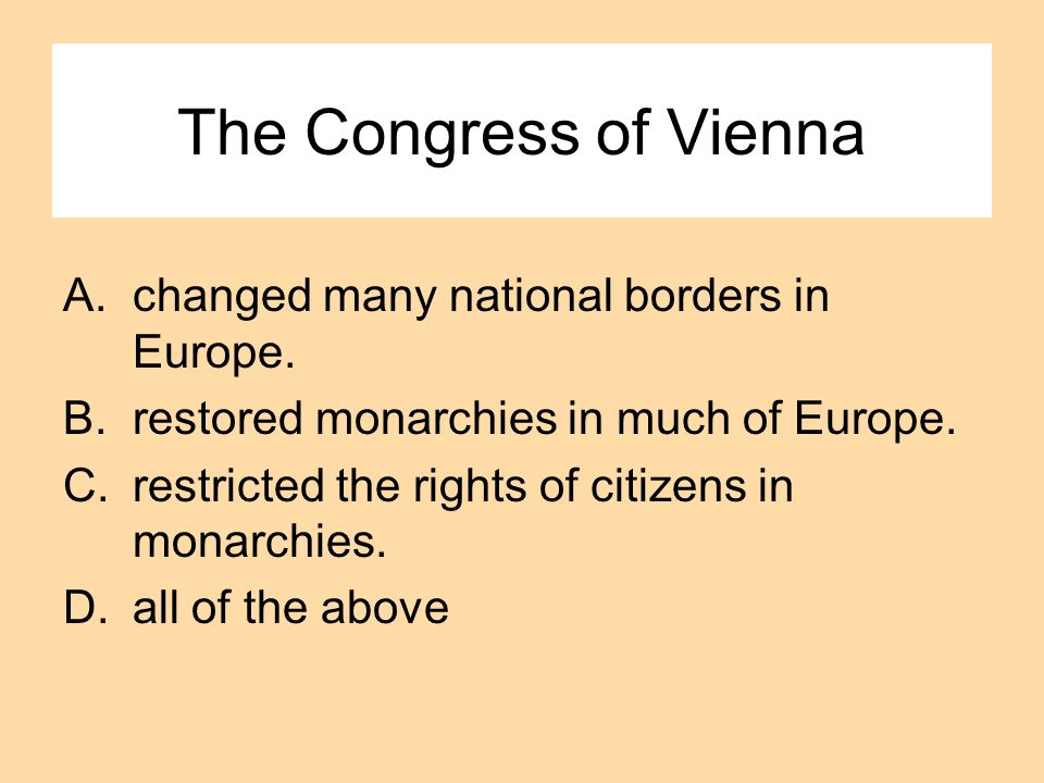 The Congress of Vienna changed many national borders in Europe.