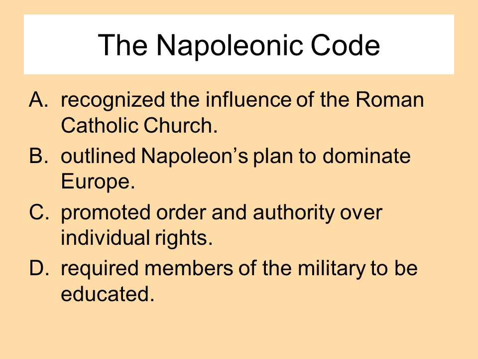 The Napoleonic Code recognized the influence of the Roman Catholic Church. outlined Napoleon's plan to dominate Europe.