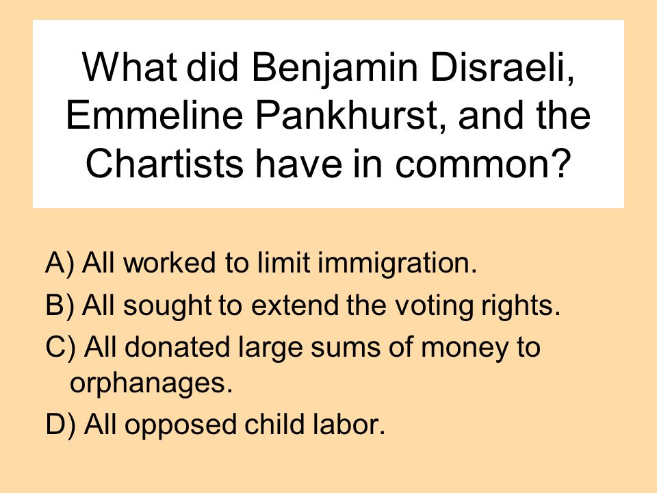 What did Benjamin Disraeli, Emmeline Pankhurst, and the Chartists have in common