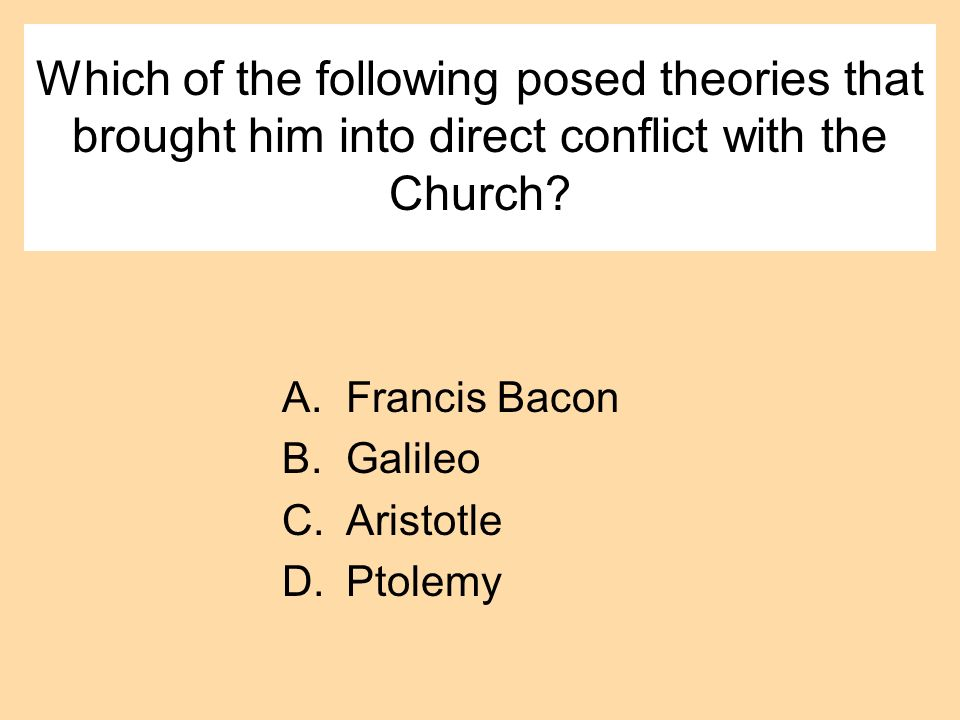 Which of the following posed theories that brought him into direct conflict with the Church