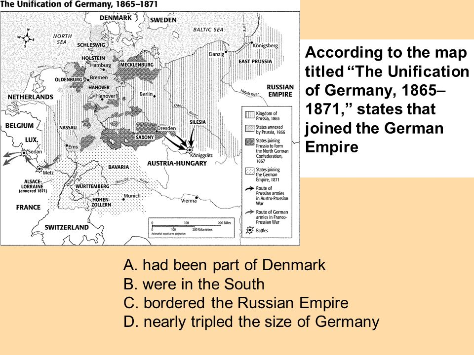 According to the map titled The Unification of Germany, 1865–1871, states that joined the German Empire
