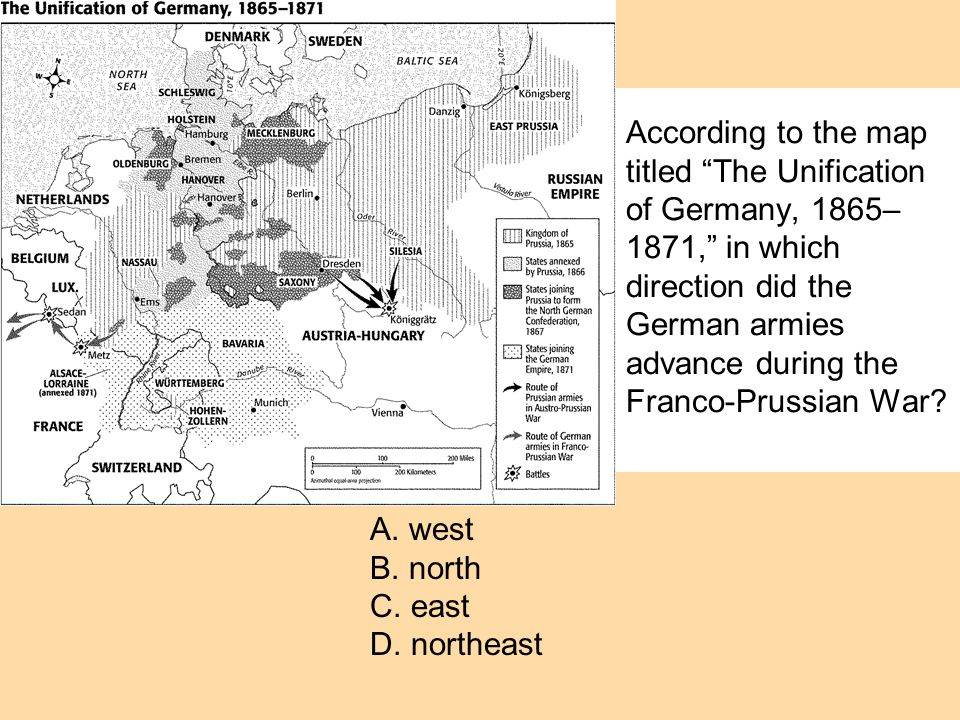 According to the map titled The Unification of Germany, 1865–1871, in which direction did the German armies advance during the Franco-Prussian War