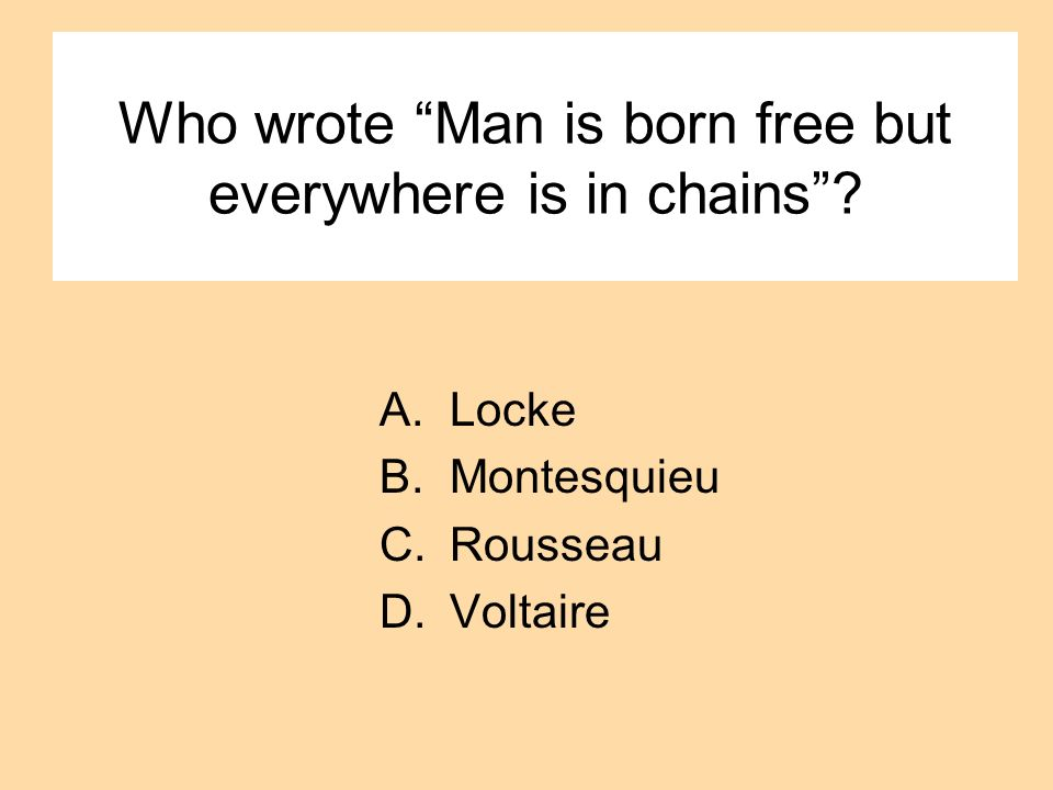 Who wrote Man is born free but everywhere is in chains