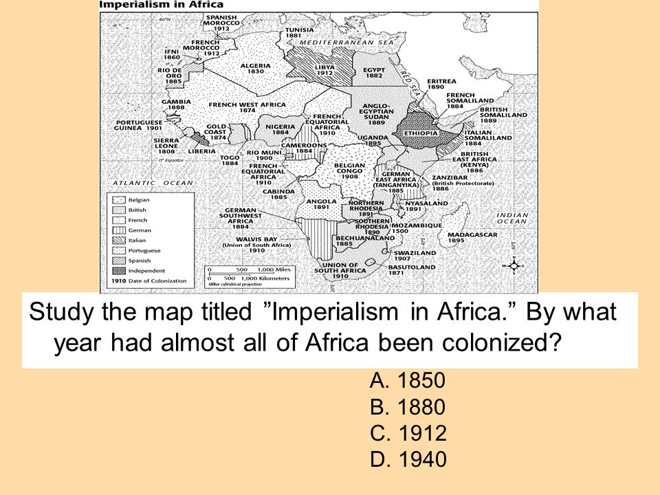 Study the map titled Imperialism in Africa