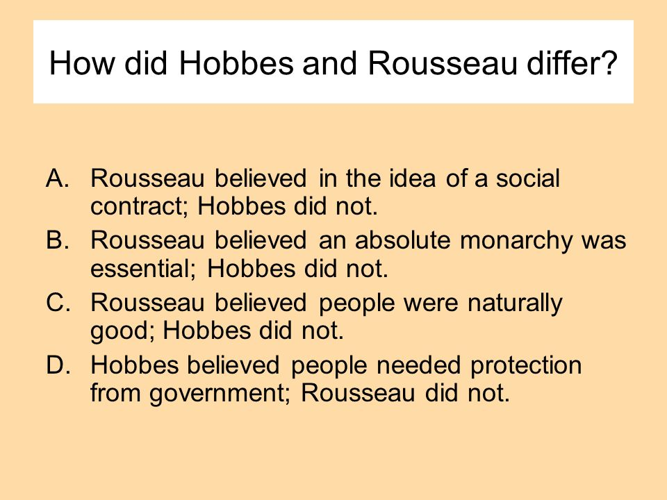 How did Hobbes and Rousseau differ