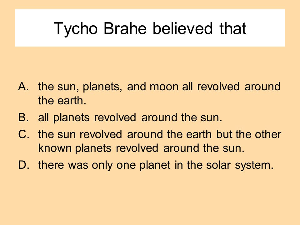 Tycho Brahe believed that