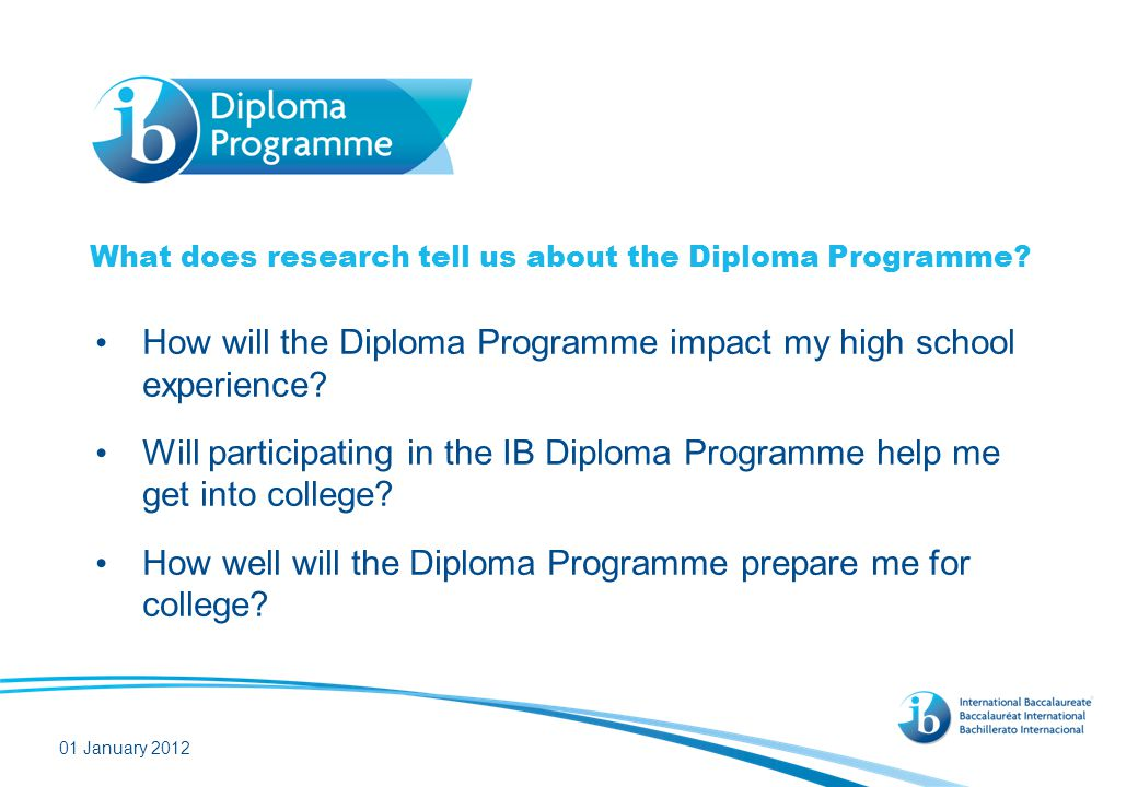What does the research say about the impact of the IB on students' experience in high school
