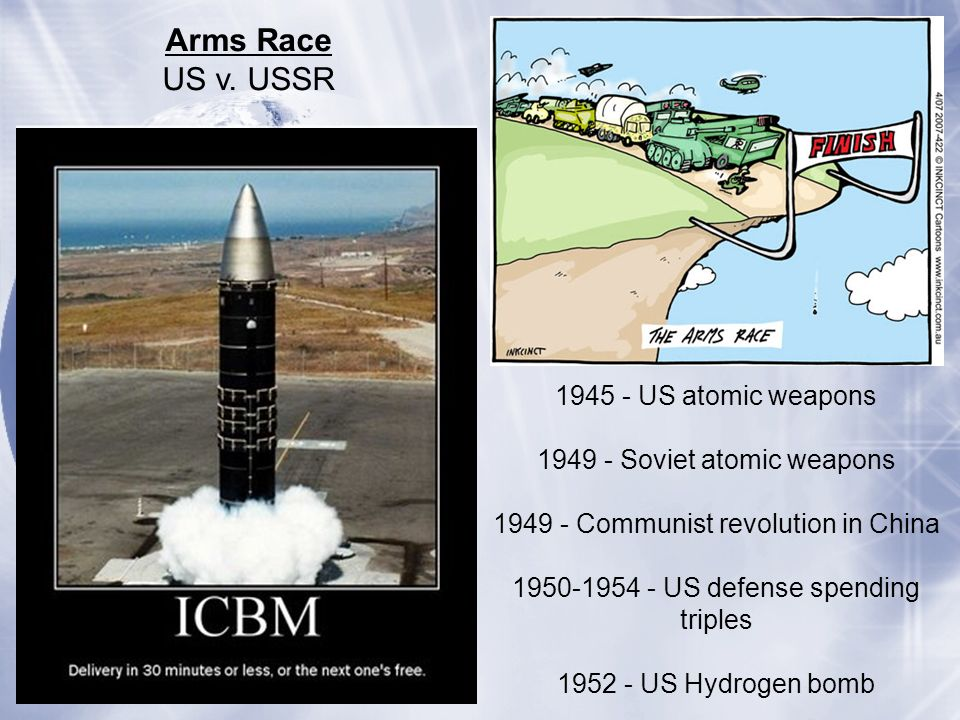 Arms Race US v. USSR 1945 - US atomic weapons