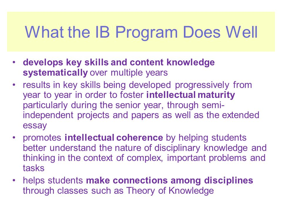 What the IB Program Does Well