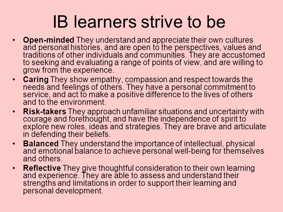 IB learners strive to be