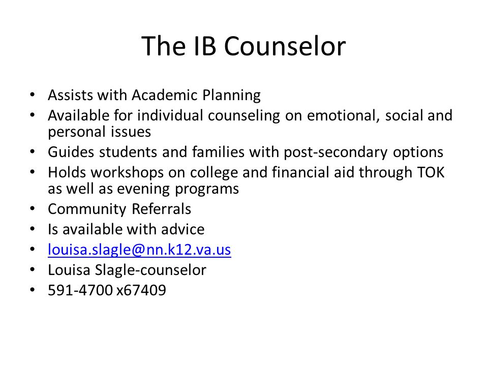 The IB Counselor Assists with Academic Planning