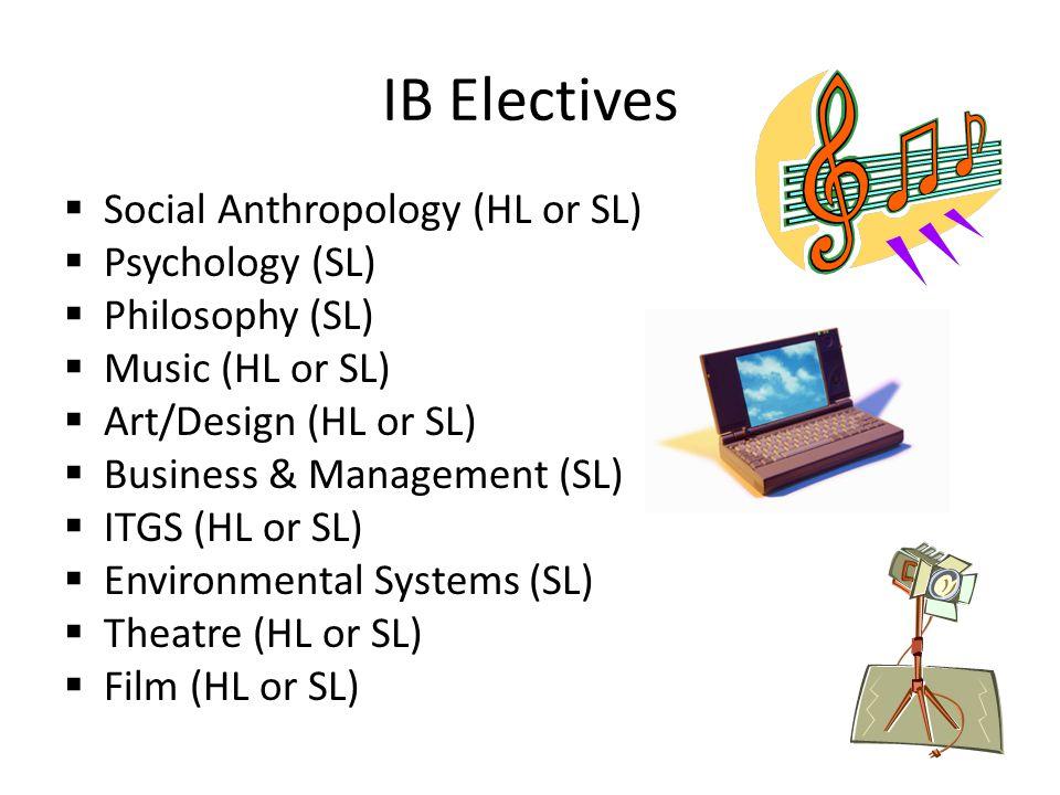 IB Electives Social Anthropology (HL or SL) Psychology (SL)