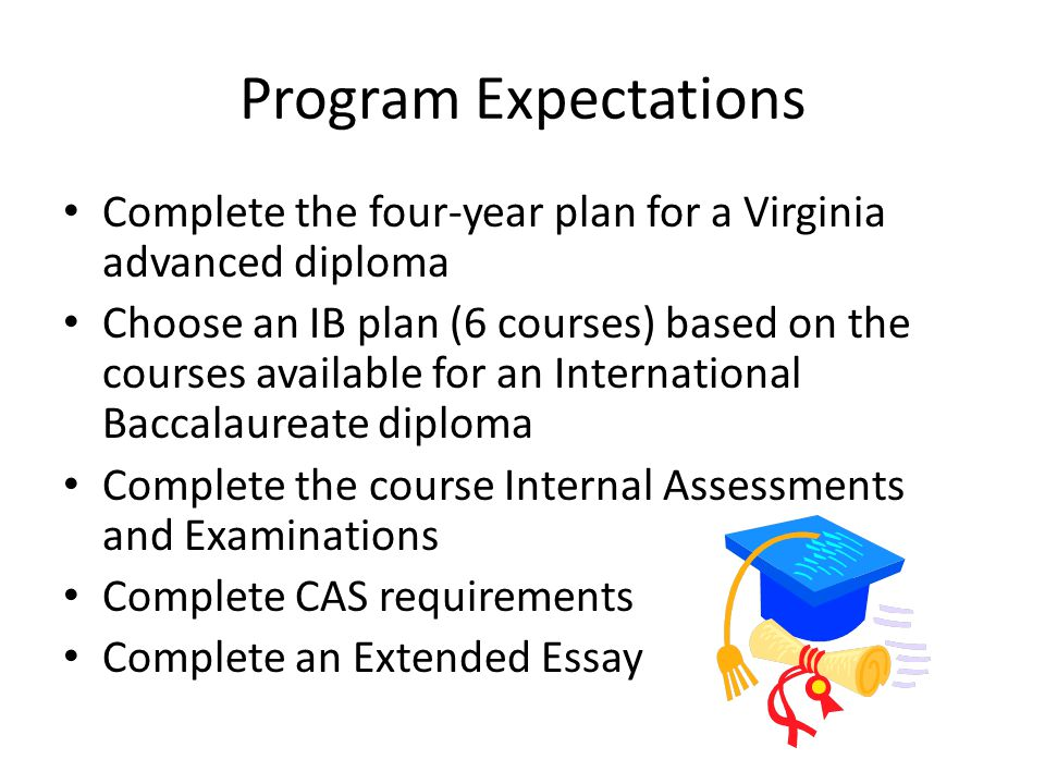 Program Expectations Complete the four-year plan for a Virginia advanced diploma.