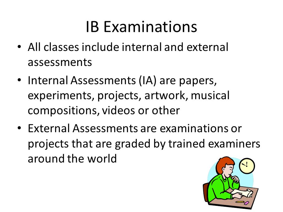 IB Examinations All classes include internal and external assessments
