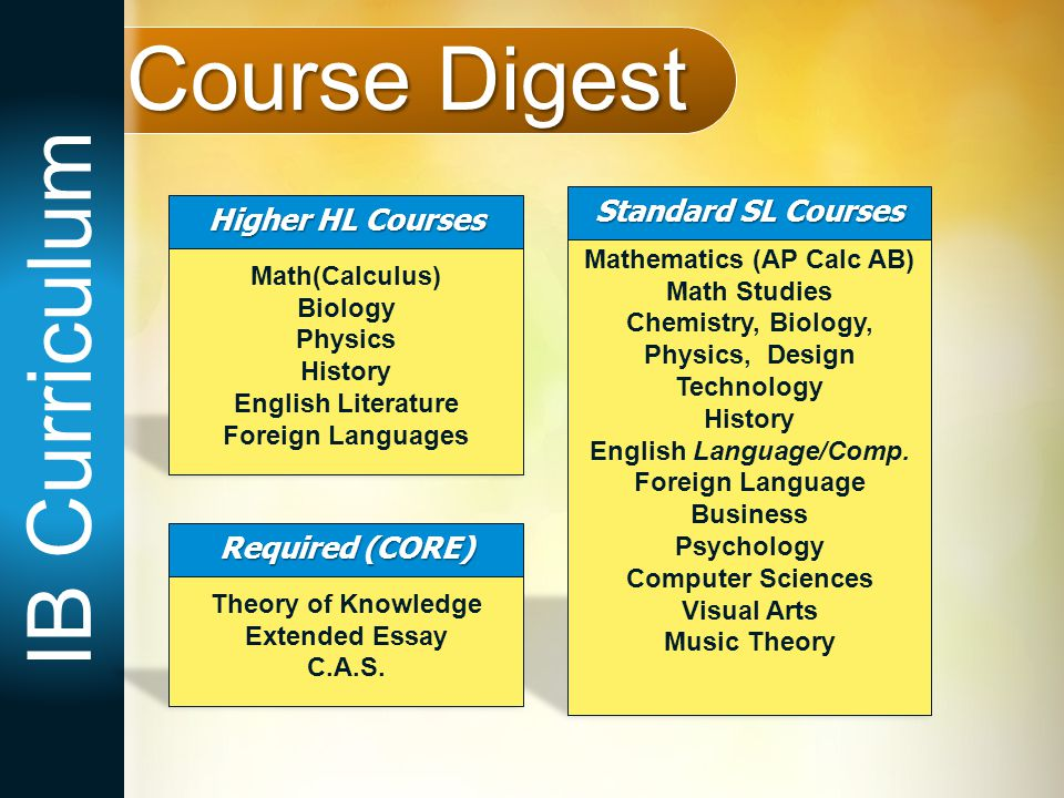 Course Digest IB Curriculum Standard SL Courses Higher HL Courses