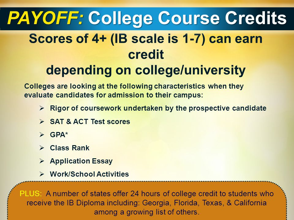 PAYOFF: College Course Credits