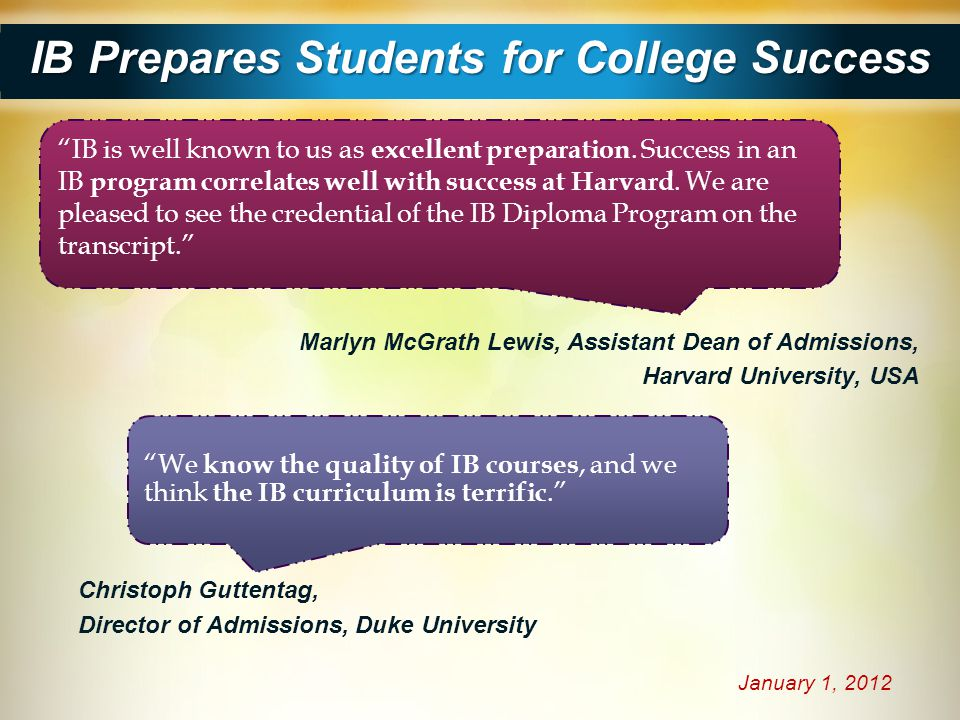 IB Prepares Students for College Success