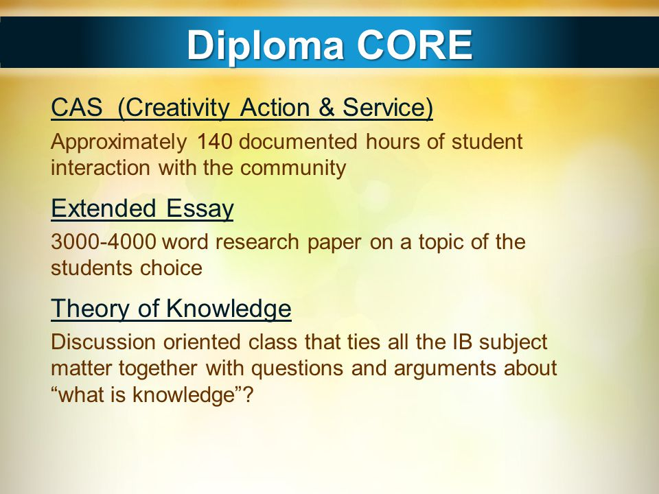 Diploma CORE CAS (Creativity Action & Service) Extended Essay