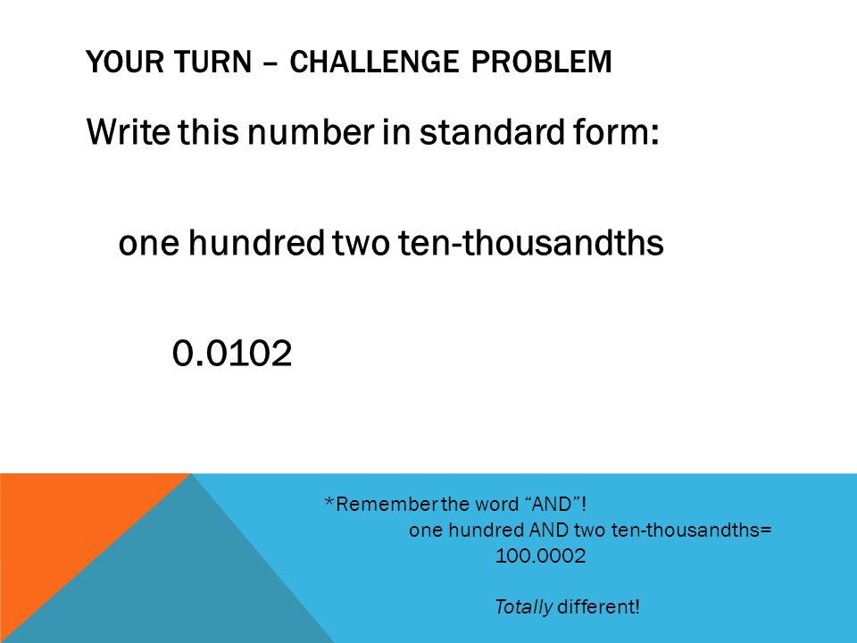 Your turn – Challenge problem