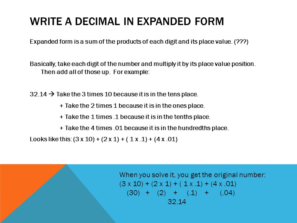 Write a decimal in Expanded form