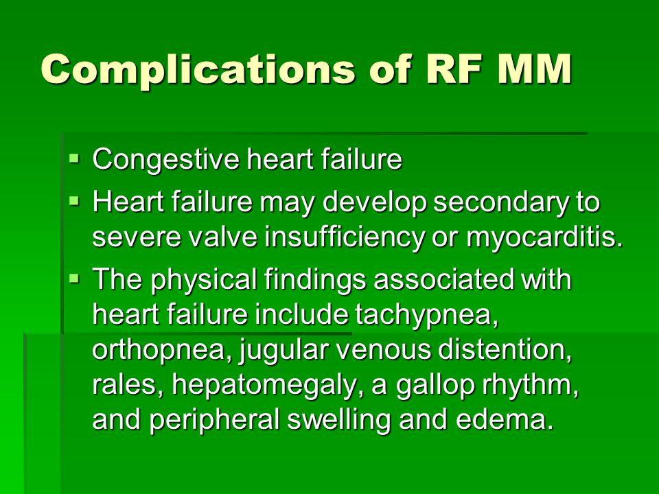 Complications of RF MM Congestive heart failure