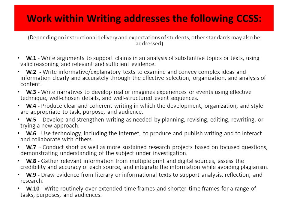 Work within Writing addresses the following CCSS: